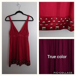 Hale Bob red dress with gold metal adornments